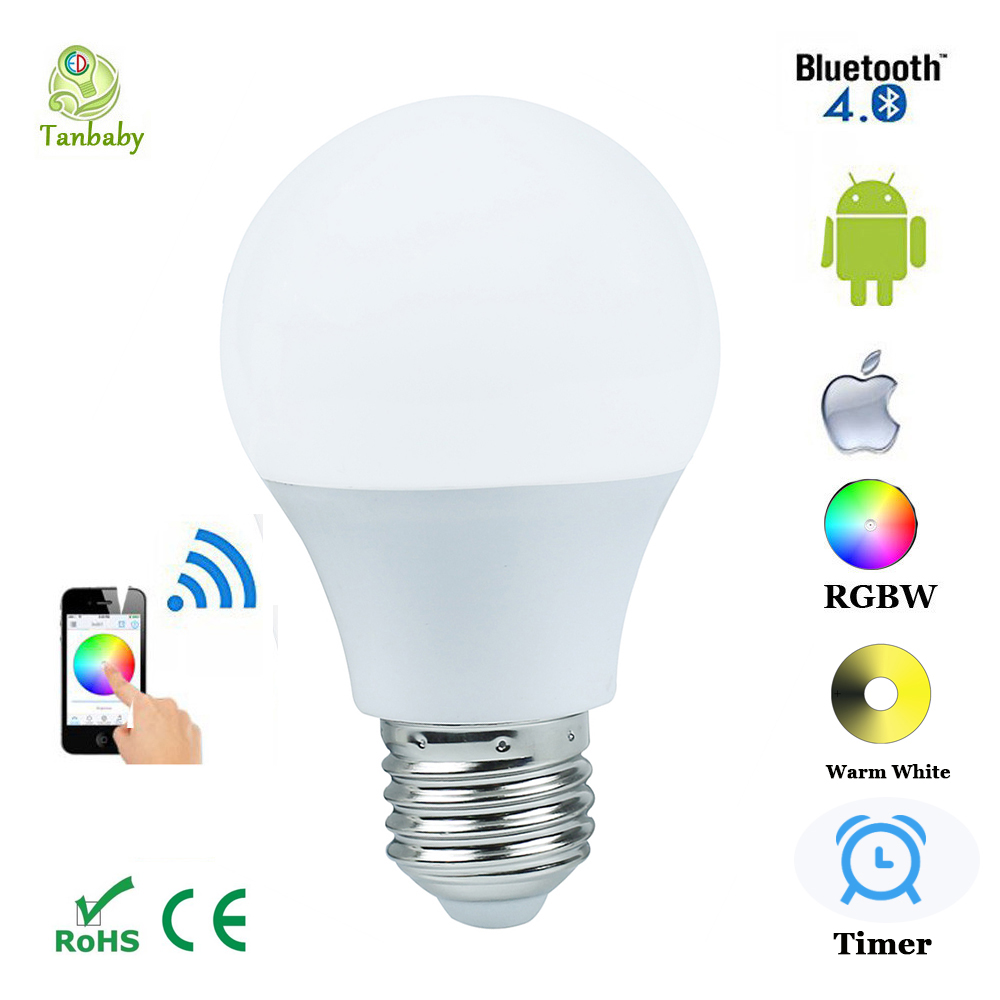 Tanbaby 4.5W E27 RGBW led light bulb Bluetooth 4.0 smart lighting lamp color change dimmable for home hotel AC85-265V<br><br>Aliexpress