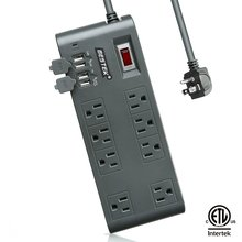 BESTEK Power Strip Surge Protector 8 Sockets 7.5A 4 Port USB Extension Socket Plug Wall Mount Power Strip 6.6/8/10/15/25 Ft Cord