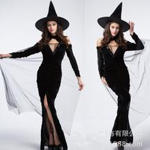 Sexy Black Color Fantasia Sorcerer wizard Witch Cosplay Disfraces Easter Halloween Sorceress Costumes for Woman Game uniforms