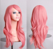 Hatsune Miku Anime Wig Synthetic Hair Long Curly Wave Cosplay Wig Pink peluca Cosplay Perruque peruca femininas