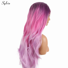 Sylvia Three Tone Dark Lilac Purple Ombre Pink To Pastel Lavender Heat Resistant Fiber Long Nature Wave Synthetic Lace Front Wig(China)