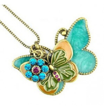 XL106 2017 Flying butterflies retro style long necklace sweater chain alloy inlaid imitation jewelry wholesale