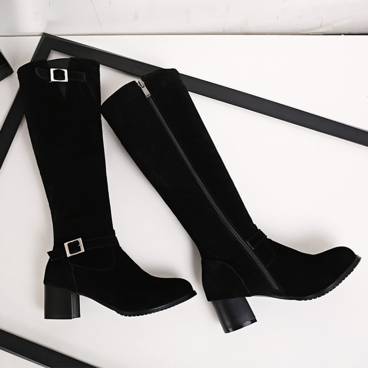 Winter Boots Real 2016 Big Size 34-43 Women Knee High Boots Sexy Chunky Heels Round Toe Spring Autumn Shoes Less Platform F16<br><br>Aliexpress