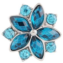 partnerbeads 20MM snap Silver Plated with Deep blue and clear rhinestones snaps jewelry KC7200