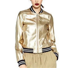 2018 Runway Brand Designer Sliver Gold Bomber Jacket Women Basic Coats Striped Casual Jackets Outwear Jaqueta Feminina(China)