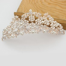 Luxurious Pearl Baroque Queen King Crown Diadem Bridal Prom Rose Gold Tiaras and Crowns Bride Wedding Hair Jewelry Accessories