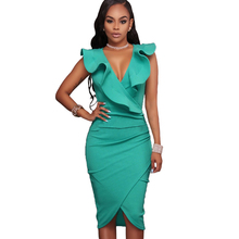YJSFG HOUSE Fashion Sexy Ruffles Evening Party Dresses 2017 Summer Women V-neck Sleeveless Midi Office Dress Ladies Slim Vestido