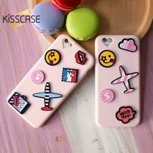 KISSCASE Coque For iPhone 7 6s 6 Plus Cute Cartoon 3D Case Pink Thin Soft TPU Silicone Lover Cover For iPhone 6 6s 7 Plus Fundas(China)