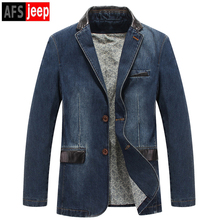 2017 Spring Autumn Casual Men One Button Slim Suit Collar Denim Blue Blazer Male Coat Fall Fitted Jeans Plus Size Coats For Man