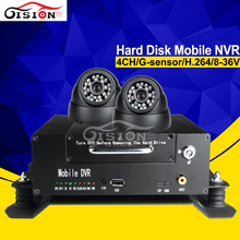 Car Nvr Kits Free Shipping 4CH 720P HD HDD Mobile Dvr RCA Output G-senor I/O Gision Dvr+Camera For Car(China)