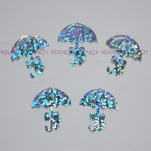 350Pcs/600pcs/lot 23*23mm Silver Bowknot Umbrella Loose Sequins Paillette  Crafts for Sewing/Webbing Diy Accessory Kids DIY