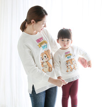 Mommy and Me Clothes 2017 Spring Boys and Girls Pullovers Cartoon Printing Cotton Children's Clothing Family Matching Outfits