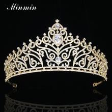 Minmin Classic European Design Cubic Zirconia Tiaras and Crowns Gold-color Leaf Crystal Bridal Wedding Hair Jewelry MHG084