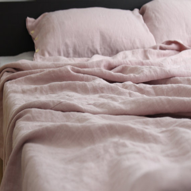 Pink Washed French Bed Linen Duvet Cover Queen Linen Bedding Bed Cover King  Size Flax 100