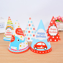 5pcs Cute Korean Style Cartoon DIY Paper Celebration Party Hat Birthday Cap Children Kids Birthday Party Decor Photograph Items(China)
