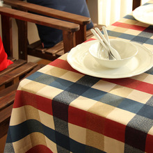 Europe Classic Table Cloth Pastoral Red Blue Bigger Plaid Table Cloths Dustproof Pure Cotton Tablecloths Printed Wedding mantele