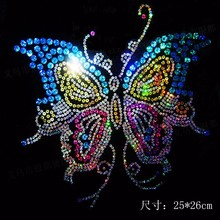 Free Shipping~10pcs/Lot Wholesale   Butterfly laser Sequin Transfer Iron On Hotfix  Gem Crystal  Motif Patch  Bling
