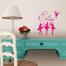 Personalized Girl Name Ballerinas Wall Decal Removable Vinyl Art Mural Decor