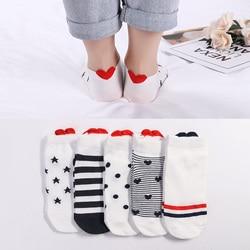 5 пар, Новое поступление, женские хлопковые носки, розовые носки с милым котиком, короткие носки, повседневные носки с ушками животных, красн...