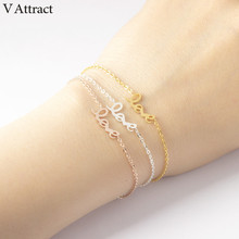 Buy V Attract Vintage Jewelry Rose Gold Pulseira Valentine's Day Gift Stainless Steel Link Letter Charm Love Bracelet & Bangle Femme for $1.52 in AliExpress store