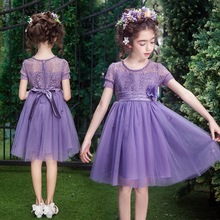 YNB Short Sleeve Ball Gown Children `s Dress for Girls, 2017 Fashion Kids Lace Mesh Party Dresses, 3Colors Flower Girl Dress