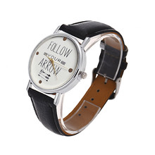 FOLLOW YOUR ARROW Letters Printed Women Watches Fashion Analog Quartz Watch Casual PU Leather Bracelet Sport Wristwatch Relogios
