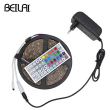 DC 12V Luz RGB LED Strip 5050 SMD Waterproof 5M 300LED 150LED Tira LED Light Neon Tape Flexible Ledstrip add 3A Power and 44Key