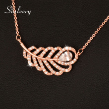 SINLEERY Luxury Crystal Feather Choker Necklace For Women White/Rose Gold Color Short Chain Charm Jewelry 2017 XL123 SSD