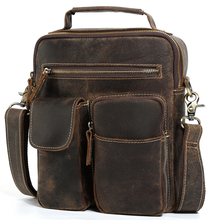 New Luxury Cow Leather IPAD Bag Cool Vintage Style Vertical Messenger Shoulder Bags Crazy Horse Leather Men's Bag Brown