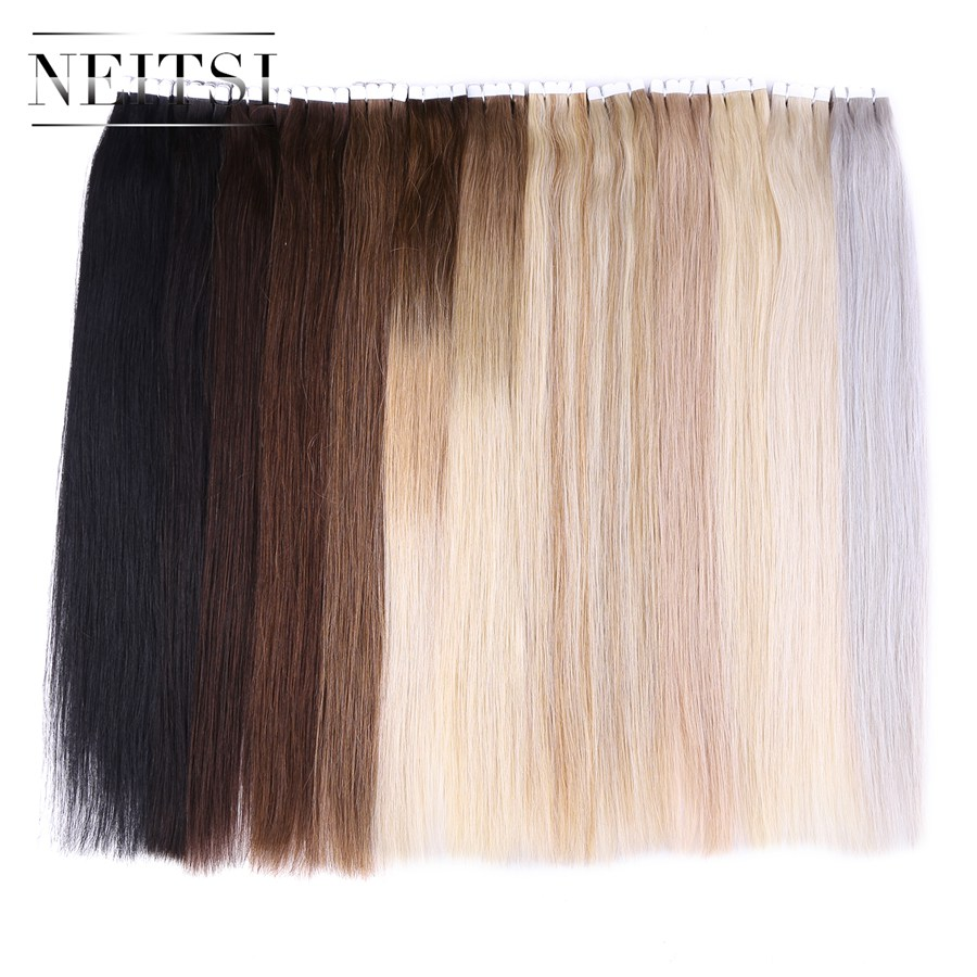 "Neitsi Mini Heart Tape In Human Hair 20"" 2.0g/pc 20pcs/pack Natural Straight Skin Weft Remy Hair Extensions 13 Colors Available(China (Mainland))"