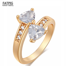 High Quality Italy Zircon Gold Color Jewelry Hollow Bowknot Rings Lady Women CZ Crystal Fahion Jewelry for Dating Rings