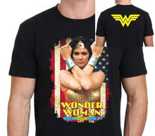 Wonder Woman Lynda Carter Classic T shirt Men two sides %100 cotton casual gift tee USA Size S-3XL
