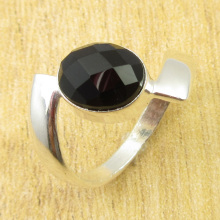 Silver Plated Classic Black Onyx UNUSUAL Ring Size US 8.25 WHOLESALE PRICE(China)