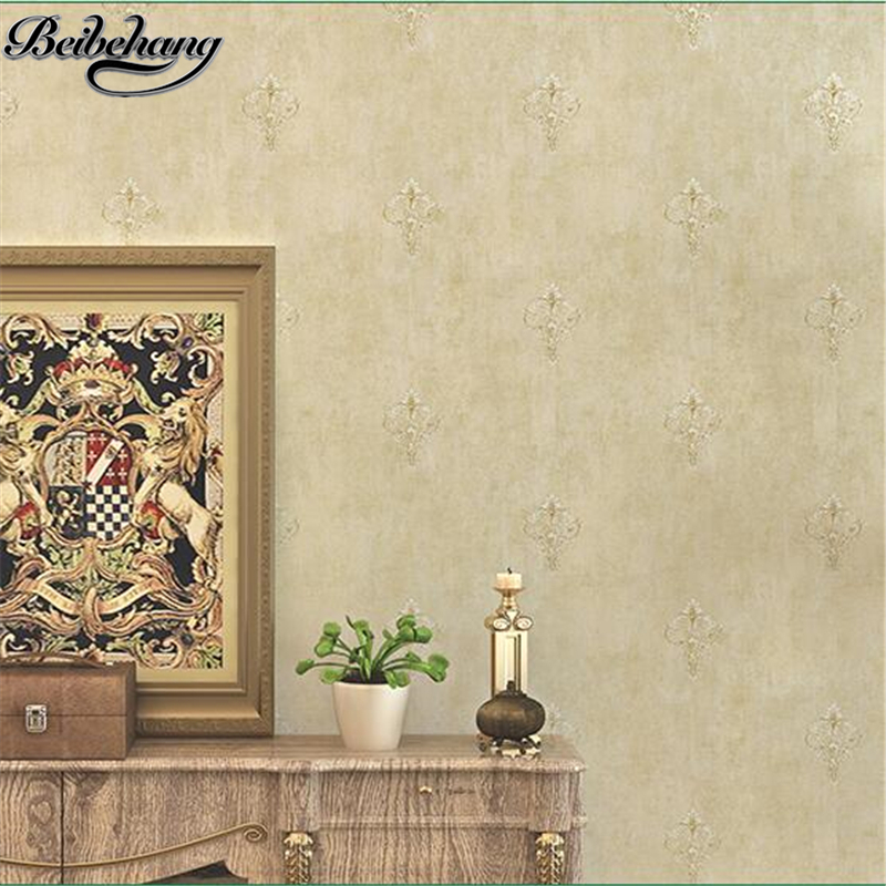 beibehang American Pastoral Retro Wallpaper European Nonwovens Wallpaper Bedroom Living Room TV Background Wall Silver Crochet<br>