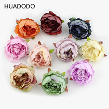 HUADODO 10 pieces 5cm Peony flower head silk Artificial Flowers For Wedding Decoration DIY Decorative Wreath Fake Flowers(China)