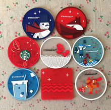 Free shipping Starbucks Cartoon Coasters Cup Cushion Holder Non-slip heat insulation Coasters Cup Mat,10pcs/lot,wholesale