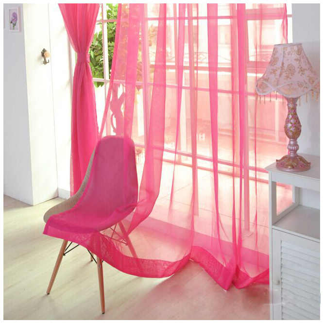 Hot Wear rod Solid color Shalian cut off window screening Blackout curtains Dark pink