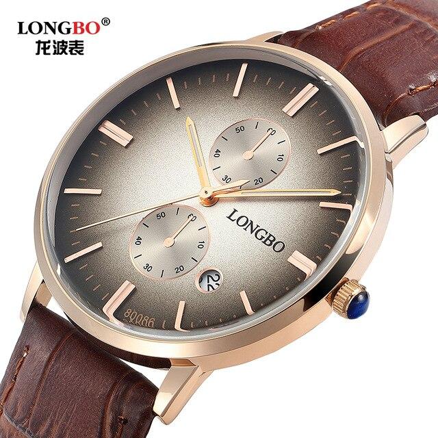 2017 relojes hombre ultra slim Top brand Quartz Watch men Casual Business JAPAN longbo Leather Analog Watch Mens  LB80086<br><br>Aliexpress