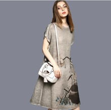 2016 new summer women dresses Chinese style flower printed fake women dress elegant long dress   plus size  509h 25