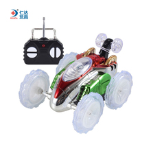 RD Stunt Car with Shining Light RC Remote Control Car Electric Toy Dump Car Dumper Rolling Rotating Wheel Vehicle Dump Cars(China)