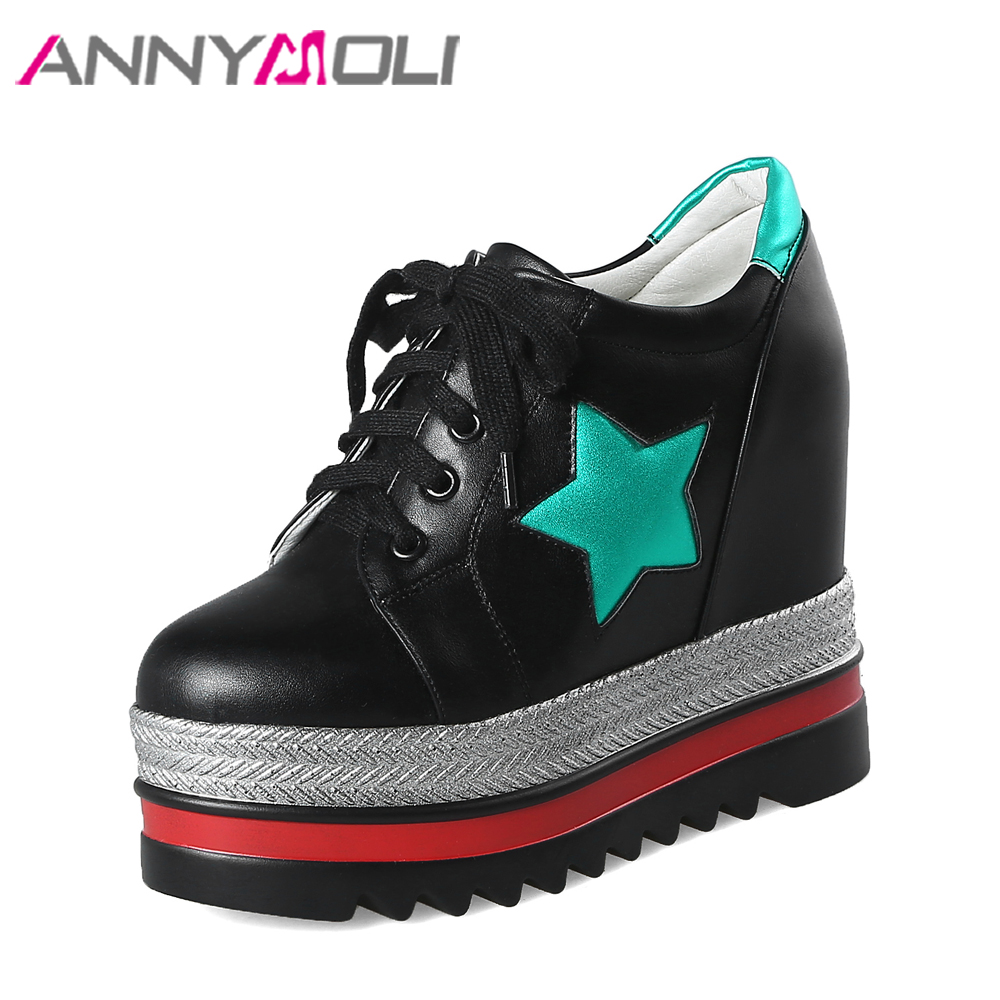 ANNYMOLI Platform Shoes Extreme High Heels Lace Up Wedge Heels  Star Hidden Heels Ladies Pumps Retro Female Wedges Shoes White <br>