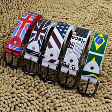 Discount Young PU Leather Striped Fabric Waist Belt Flag Printed Hip Hop Belt For Jeans Cheapest Free Shipping(China)