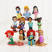 11pcs/lot Princess Figure Toy Snow White Moana Ariel Mermaid Tangled Rapunzel Jasmine Beauty Model Doll for Girls(China)