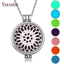 DIY Luminous Jewelry Aromatherapy Diffuser Locket Lotus Flower Pendant Necklace Best Friends Gift Perfume Necklace 2017 Hot Sale(China)