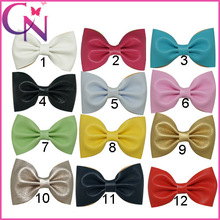 3 Inch Mini Newborn Girl's Leather Bow With Hair Clip Small Hair Bows For Girl