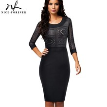 Nice-forever Vintage Embroidery Lace Sexy See through sleeve Wear to Work vestidos Office Business Women Bodycon Dress B423(China)