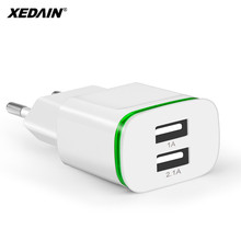 XEDAIN Phone Micro Data Charging Good EU Plug 2 Ports LED Light USB Charger 5V 2.1A Wall Adapter Mobile For iPhone iPad Samsung