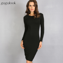 gagalook Bodycon Winter Dress Women Office Work Long Sleeve Sexy Black Midi Dress Robe D0746(China)