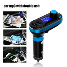 Dual Port Car MP3 Player T66 Wireless FM Transmitter Car FM Modulator Radio SD Car Charger + Remote Control for iPhone Samsung(China)