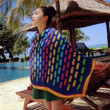 Fun Orange Summer Beach Wear Wraps Women Sun Protect Colorful Beauty Scarf for Women Air Condition Room Pashiminas
